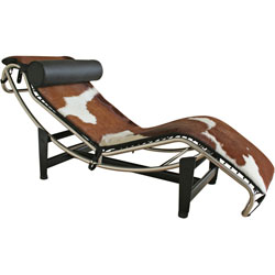 Le Corbusier Chaise Lounge in Brown and White Pony